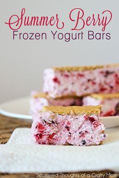#Summer Berry Frozen #Yogurt Bars