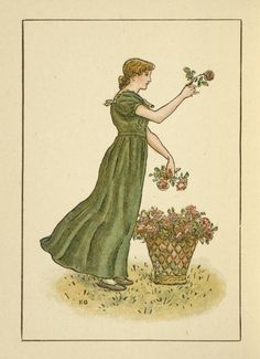 Woman with flowers - Kate Greenaway's Almanack for June 1894