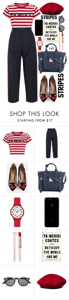 """Where's Waldo ?"" by jordan-mobley ❤ liked on Polyvore featuring Fiorucci, Acne Studios, 3.1 Phillip Lim, GUESS, Puma, Frēda Banana, kangol, stripesonstripes and PatternChallenge"