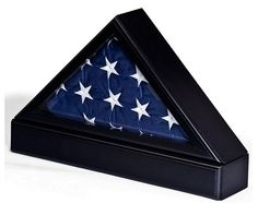 Flag Case With Base For Tabletop Or Wall Mounting – Black | Flag Display Cases, Burial Flag Frames, Flag Medal