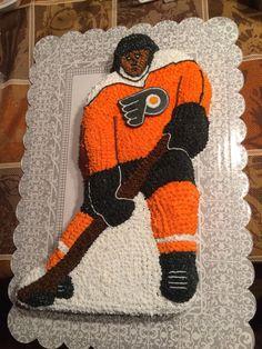 Philadelphia Flyers hockey player cake