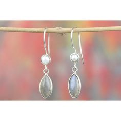 925 Silver Labradorite Pearl Dangle Earring via Polyvore featuring jewelry, earrings, pearl jewellery, silver earrings, silver jewelry, long pearl earrings and white pearl earrings