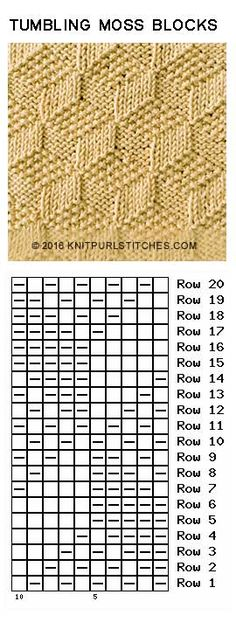 Just Knit and Purl 2019 Tumbling Moss Blocks. Just Knit and Purl The post Tumbling Moss Blocks. Just Knit and Purl 2019 appeared first on Knit Diy. Knitting Stiches, Knitting Charts, Lace Knitting, Knitting Patterns Free, Knit Patterns, Crochet Stitches, Stitch Patterns, Knit Crochet, Knitting Designs