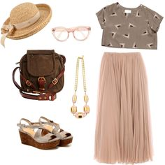 Crop top. Statement necklace. Pleated blush maxi skirt. Brown satchel. Work business casual.