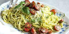PESTO SPAGHETTI WITH SUMMER SQUASH http://www.delish.com/cooking/recipe-ideas/recipes/a47847/pesto-spaghetti-with-summer-squash-recipe/