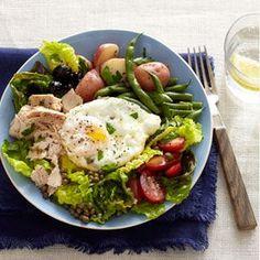 awesome Tuna Niçoise Salad with Roasted Green Beans and Potatoes | MyRecipes.com #Prote...