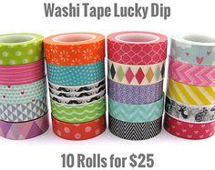 Washi Tape Set - Lucky Dip - Random Selection - 10 Rolls - 100 Metres of Washi Total