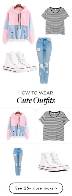 """Cute Outfit"" by jenikapink on Polyvore featuring Converse and Monki"
