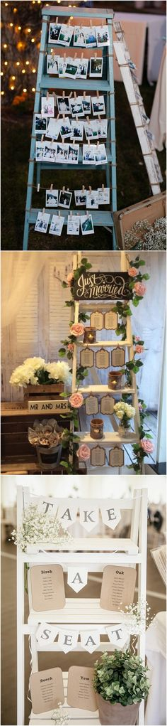 vintage wedding ideas photo display with ladders2