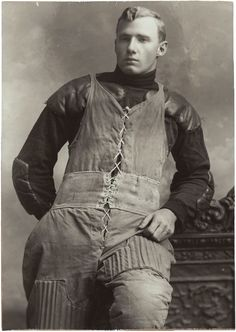 """Oversized Football Player in Uniform Photograph (c. 1905). 1 x 16"""" photograph of a turn of the century football player. $149"""