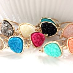 Handmade Gemstone & Druzy Jewelry and Stacking Rings di Druzy Jewelry, Druzy Ring, Stacking Rings, Jewerly, Etsy Seller, Gemstones, Beads, My Style, Wedding Ideas