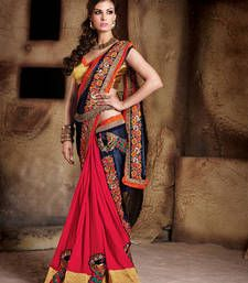Buy blue embroidered faux georgette saree with blouse designer-embroidered-saree online