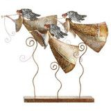 """Beatiful angels made of metal with intricate scroll work designs; 18"""" high and 19"""" wide; Base is 19"""" x 3"""""""