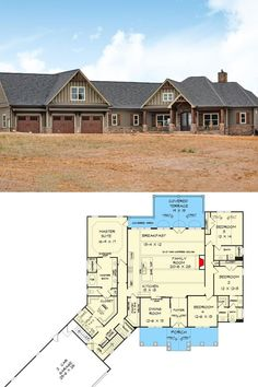2-Story 4-Bedroom Ranch House Plan with Bonus Over Garage (Floor Plan) Simple Ranch House Plans, Small Modern House Plans, Small Cottage House Plans, Simple Floor Plans, Garage Floor Plans, Porch House Plans, Small House Floor Plans, Open House Plans, Basement House Plans