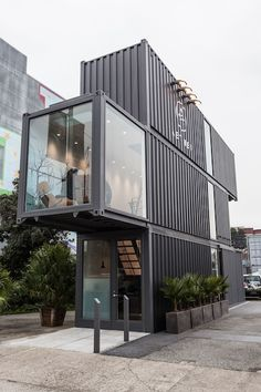 Aether SF store in three refurbished container crates.  #architecture #retail #design
