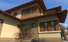 Emeletes családi ház 227 m2 | Családiházam.hu Radha Soami, Design Case, Garage Doors, House Styles, Outdoor Decor, Homes, Home Decor, Hidden Rooms In Houses, House Siding