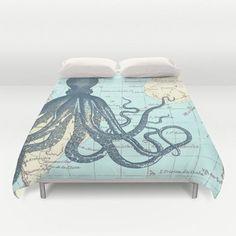 Nautical Map Octopus Microfiber Duvet Cover