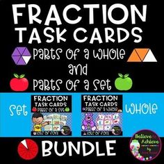 Fraction Bundle Task Cards- (parts of set and parts of whole) Save 15% by buying this Fraction bundle of 48 task cards with parts of a set and parts of a whole! ***These sets are also sold separately. Recording sheets and answer