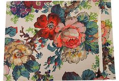 Vintage Handpainted Floral Wallpaper