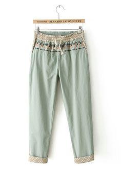 Drawstring Waist Boho Print Pants