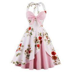 Vintage Floral Print Halter Pin Up Dress - Pink 2xl Fit and Flare Dress Skater Dress