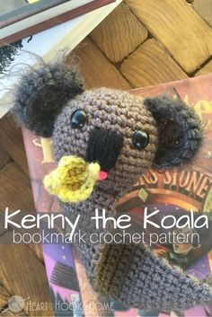 Kenny the Koala Bookmark Amigurumi Crochet Pattern http://hearthookhome.com/kenny-koala-bookmark-amigurumi-crochet-pattern/?utm_campaign=coschedule&utm_source=pinterest&utm_medium=Ashlea%20K%20-%20Heart%2C%20Hook%2C%20Home&utm_content=Kenny%20the%20Koala%20Bookmark%20Amigurumi%20Crochet%20Pattern