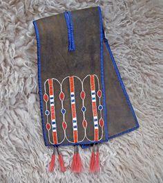 Split pouch - Iroquois - Woodland - Quillwork/Silk ribbon Made by Romana Ziemann