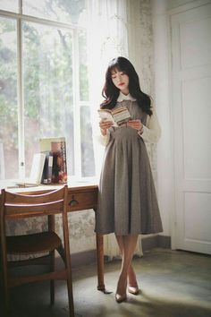 Korean Fashion Dress, Korean Outfits, Japanese Fashion, Modest Fashion, Fashion Dresses, Modest Outfits, Classy Outfits, Vintage Outfits, Long Skirt Outfits