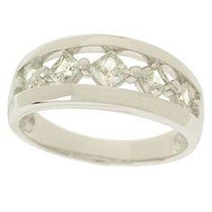 0.70Ct Princess Cut D/VVS1 Diamond 18K White Gold Over Graduated Wedding Band by JewelryHub on Opensky