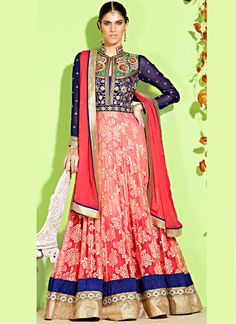 Item :#4060 Shop this product from here.. http://www.silkmuseumsurat.in/superb-peach-net-brasso-deep-purple-anarkali-suit?filter_name=4060   Color : Blue, Peach Fabric : Brasso Georgette, Net Occasion : Bridal, Party, Reception, Wedding Style : Anarkali Dress Work : Beads, Kasab, Patch Border, Resham, Stones, Zardosi, Zari