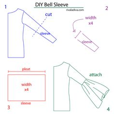 Rosy hues diy bell sleeve diy - dress me lecții de croitorie Sewing Sleeves, Sewing Pants, Sewing Clothes, Diy Clothes, Shirt Refashion, Diy Shirt, Fashion Sewing, Diy Fashion, Fashion Women