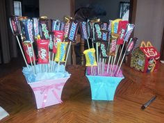 Our candy bouquets for our gender reveal party! These are the prizes for the guessing game!!