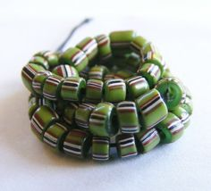ANTIQUE TRADE BEADS 60 olive green Venetian striped Drawn beads