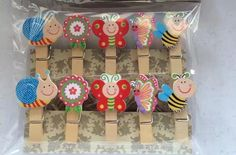 10pieces Small Animals wooden clips for decoration,natural & tiny wooden clips,Paper Photo Wooden Pegs,Children's Birthday Party Favors by KJdecoration on Etsy