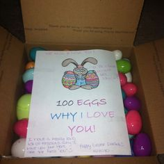 Another pinner did - Hubby's easter day care package I'd love to do this for ours kids...why we love them!