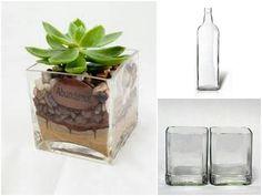 Reutilización de botellas de vidrio.