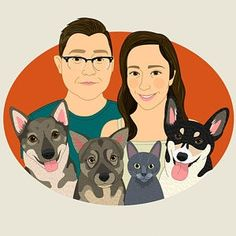 Personalized couple portrait with pet. Gift for her, gift for him. Custom couple portrait with dog or cat. Anniversary or Housewarming gift. Portraits From Photos, Couple Portraits, Pet Portraits, Family Illustration, Portrait Illustration, Parent Gifts, Gifts For Family, Abstract Face Art, Create Christmas Cards