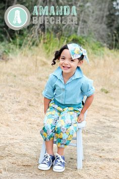 Girls Button Up Blouse in Teal and White by VintageChildModern, $74.00:  OK ONE MORE