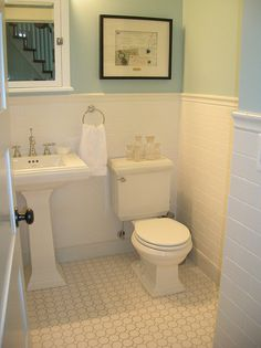 white Octagon/Dot tile & light gray grout for floors in 2nd floor baths & laundry