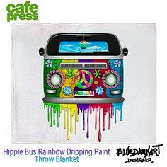 SOLD! #hippie #Bus #Rainbow #Dripping #Paint Throw #Blanket 🌿 by #Bluedarkart_Designer 🌿 @cafepressinc 🌿 Thanks You! 🌿  http://www.cafepress.co.uk/+hippie_van_dripping_rainbow_paint_throw_blanket,1530614094 🌿  #homegoods #peaceandlove #cool #design #hippievan #hippiestyle #Car #transport #vehicle #retro #seventies