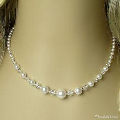 White Chiffon Swarovski Pearl Wedding by whimsydaisydesigns