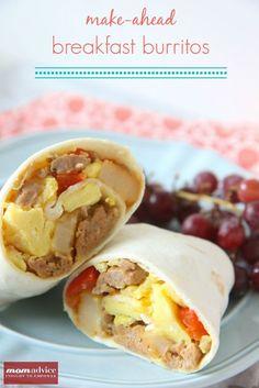 Make-Ahead Breakfast Burritos from MomAdvice.com.