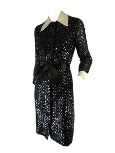 What makes this dress exceptional is the combination of simple cut and over-the-top fabric. Sheer black material entirely covered in alternating, zig-zag rows o Vintage Dresses, Nice Dresses, Formal Dresses, 70s Fashion, Vintage Fashion, Wrap Around Dress, Black Sequins, Black Satin, Black Fabric