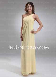 Bridesmaid Dresses - $116.99 - Empire One-Shoulder Floor-Length Chiffon Bridesmaid Dress With Ruffle (007025146) http://jenjenhouse.com/Empire-One-Shoulder-Floor-Length-Chiffon-Bridesmaid-Dress-With-Ruffle-007025146-g25146
