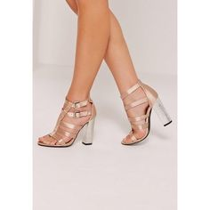 Missguided Crushed Heel Satin Gladiator Block Heel Nude ($25) ❤ liked on Polyvore featuring shoes, pumps, champagne, gladiator shoes, peep toe pumps, peeptoe pumps, champagne satin pumps and nude pumps