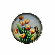 #3301 Tulips-Butterfly 20mm Snap for Snap Jewelry