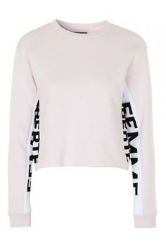Keep things casual with this super soft sweatshirt. Featuring a bold 'FEMME LIBERTE' motif to the sleeve we love the cropped fit and pastel hues. Finish the look with jeans and trainers for instant cool. Pastel Tops, Pink Tops, Topshop Tall, Clothing For Tall Women, Women's Clothing, Leotard Tops, Big And Tall Outfits, Crop Top Shirts, Crop Tops