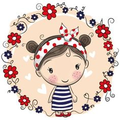 Illustration about Cute Cartoon Girl with a bow and ladybug. Illustration of cutie, content, background - 75671747 Cartoon Cartoon, Cute Cartoon Girl, Cartoon Drawings, Cute Drawings, Cartoon Characters, Fictional Characters, Illustration Mignonne, Cute Illustration, Cute Images