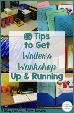 5 Tips to Get Writer's Workshop Up and Running in your elementary classroom. These are invaluable tips to help you launch and get started. Includes tips for anchor charts, folders, writing centers/stations and more! Perfect for kindergarten, first, second