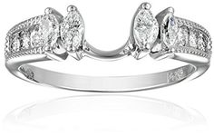 Enhance your engagement ring with this diamond encrusted band. 14k White Gold Round and Marquise Diamond Solitaire Engagement Ring Enhancer (1/2 cttw, H-I Color, I1-I2 Clarity), Size 7. Recommended for Round or Princess 3/4-1ct solitaire^All our diamond suppliers confirm that they comply with the Kimberley Process to ensure that their diamonds are conflict free.^Domestic.